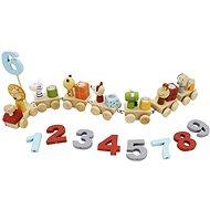 Drevený vláčik so zvieratkami a číslami - Drevená hračka