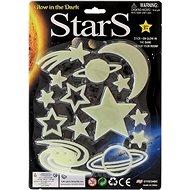 Hviezdy svietiace v tme 3 druhy na karte - Nálepka