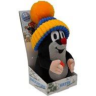 Krtko 20 cm hovoriaci, modro-žltá čiapka - Plyšová hračka
