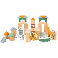 Drevená hračka Small Foot - Drevené stavebné kocky Safari, 50 ks