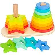 Small Foot Skladacia veža dúha Duo - Drevená hračka