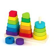 Drevená pyramída s rôznymi tvarmi - Drevená hračka