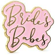 Párty kovový odznak Bride´s babes, růžovo-zlatý, 3,5 x 3cm - Párty doplnky