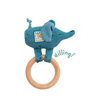 Hrkajúci sloník s dreveným krúžkom