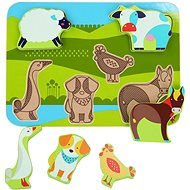 Lucy & Leo 226 Zvířátka na farmě - dřevěné vkládací puzzle 7 dílů