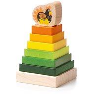 CUBIKA 15276 Farebná pyramída so sliepočkou, drevená skladačka 8 dielov