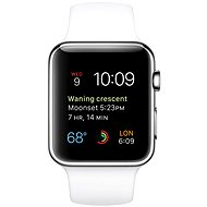 Apple Watch 42mm Nerez oceľ s bielym remienkom - Smart hodinky