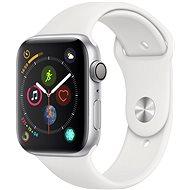 Apple Watch Series 4 44 mm Strieborný hliník s bielym športovým remienkom - Smart hodinky