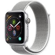 Apple Watch Series 4 44 mm Strieborný hliník s mušľovo bielym prevliekacím športovým remienkom - Smart hodinky