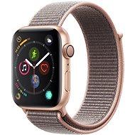 Apple Watch Series 4 44 mm Zlatý hliník s pieskovo ružovým prevliekacím športovým remienkom - Smart hodinky