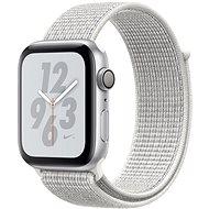 Apple Watch Series 4 Nike+ 44mm Strieborný hliník so snehovo bielym prevliekacím športovým remienkom Nike - Smart hodinky
