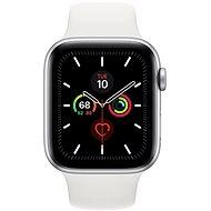 Apple Watch Series 5 44 mm Strieborný hliník s bielym športovým remienkom - Smart hodinky
