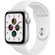 Apple Watch SE 44mm Silver Aluminium with White Sports Strap - Smartwatch