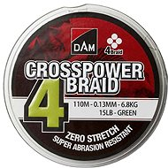 DAM Crosspower 4-Braid 0,13 mm 6,8 kg 15 lb 110 m Green - Šnúra