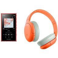 Set Sony MP4 16GB NW-A105L oranžový + Sony Hi-Res WH-H910N oranžovo-sivé - Set