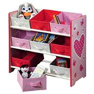 Detský úložný regál s 9timi látkovými boxmi, ružový - Regál