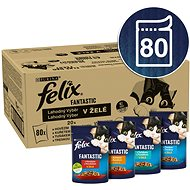 Kapsička pre mačky Felix Fantastic s hovädzím/kuraťom/tuniakom/treskou v želé 80× 85 g