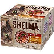Kapsička pre mačky Shelma dusené filetky bez obilnín mäsový výber 24× 85 g