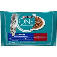Purina ONE Senior 7+ minifiletky shovädzím a mrkvou v šťave 4× 85 g - Kapsička pre mačky