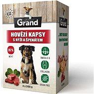 Grand deluxe hovädzie s ryžou a špenátom 4× 300 g - Kapsička pre psov