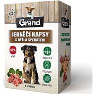 Grand deluxe jahňacie s ryžou a špenátom 4× 300 g - Kapsička pre psov