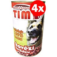 Konzerva pre psov TIM hovädzie 1200 g, 4 ks