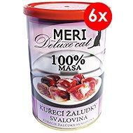 Konzerva pre mačky MERI deluxe kuracie žalúdky – svalovina 400 g, 6 ks