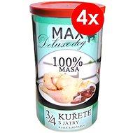 MAX deluxe 3/4 kurčaťa s pečeňou 1200 g, 4ks - Konzerva pre psov