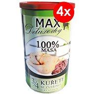 MAX deluxe 3/4 kurčaťa s divinou 1200 g, 4ks - Konzerva pre psov