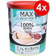 MAX deluxe 1/2 kurčaťa s pečeňou 800 g, 4ks - Konzerva pre psov
