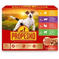 Propesko vrecko pes kura + hovädzie + morka + jahňa 12 × 100 g