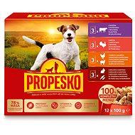 Kapsička pre psov Propesko vrecko pes kura/jahňa, morka, králik/mrkva, hovädzie 12 × 100 g