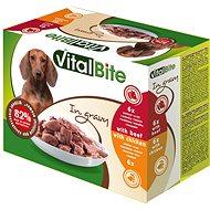 Kapsička pre psov VitalBite dusené filetky kuracie a hovädzie v omáčke 12× 85 g
