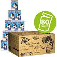 Felix Fantastic Multipack 80× 100 g s hovädzím, kuraťom, tuniakom a treskou v želé - Kapsička pre mačky