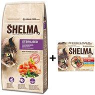 Shelma granule losos 8 kg + Shelma bez obilnín dusené filetky výber z mäsa a rýb 12× 85 g