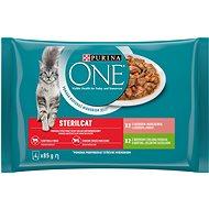Purina ONE Sterilcat minifiletky s morkou a zelenými fazuľkami, s lososom a mrkvou 4 × 85 g - Kapsička pre mačky