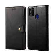 Puzdro na mobil Lenuo Leather pre Samsung Galaxy M21, čierne