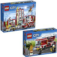 LEGO City 60110 Hasiči, Hasičská stanica + LEGO City 60107 Hasiči, Hasičské auto s rebríkom - Herná súprava