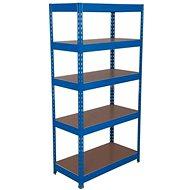 MANUTAN Basic, 176 × 900 × 30 cm, 175 kg/polica, 5 drevotrieskových políc, modrý - Regál