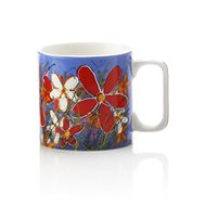 Maxwell & Williams Hrnček 350 ml Art Love Life, modrý, červený kvet - Hrnček
