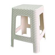 MEGAPLAST Taburet II 45 × 35,5 × 35,5 cm, polyratan, biela - Záhradná stolička