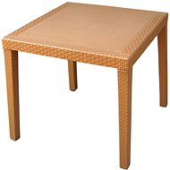 MEGAPLAST RATAN LUX 73 × 75,5 × 75,5 cm, polyratan, oker - Záhradný stôl