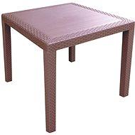 MEGAPLAST RATAN LUX 73 × 75,5 × 75,5 cm, polyratan, wenge - Záhradný stôl