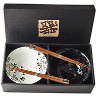 Made In Japan Set misiek Silver Sakura s paličkami 500 ml 2 ks - Sada misiek