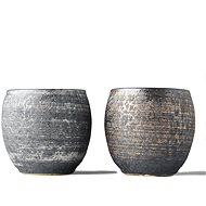 Made In Japan Set hrnků na saké Sho-chu stříbrá a bronzová 2 ks - Set