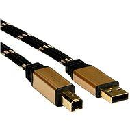 ROLINE Gold USB 2.0 A-B, 3m - čierno/zlatý - Dátový kábel