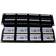 Datacom, 48x RJ45, priamy, CAT5E, UTP, čierny, 2U, LSA - Patch panel