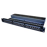 Datacom, 24× RJ45, priamy, CAT6, STP, čierny, 1U - Patch panel