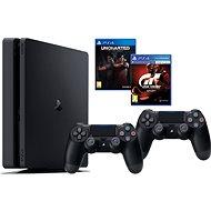 PlayStation 4 1TB Slim + Gran Turismo Šport + Uncharted Lost Legacy + Extra DualShock 4 - Herná konzola