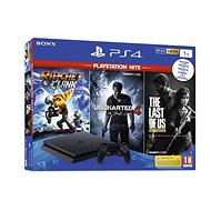 PlayStation 4 1TB Slim + 3 hry (The Last Of Us, Uncharted 4, Ratchet and Clank) - Herná konzola
